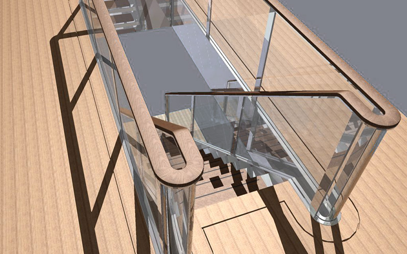Engineering stainless steel stairs with LED lighting (P55)